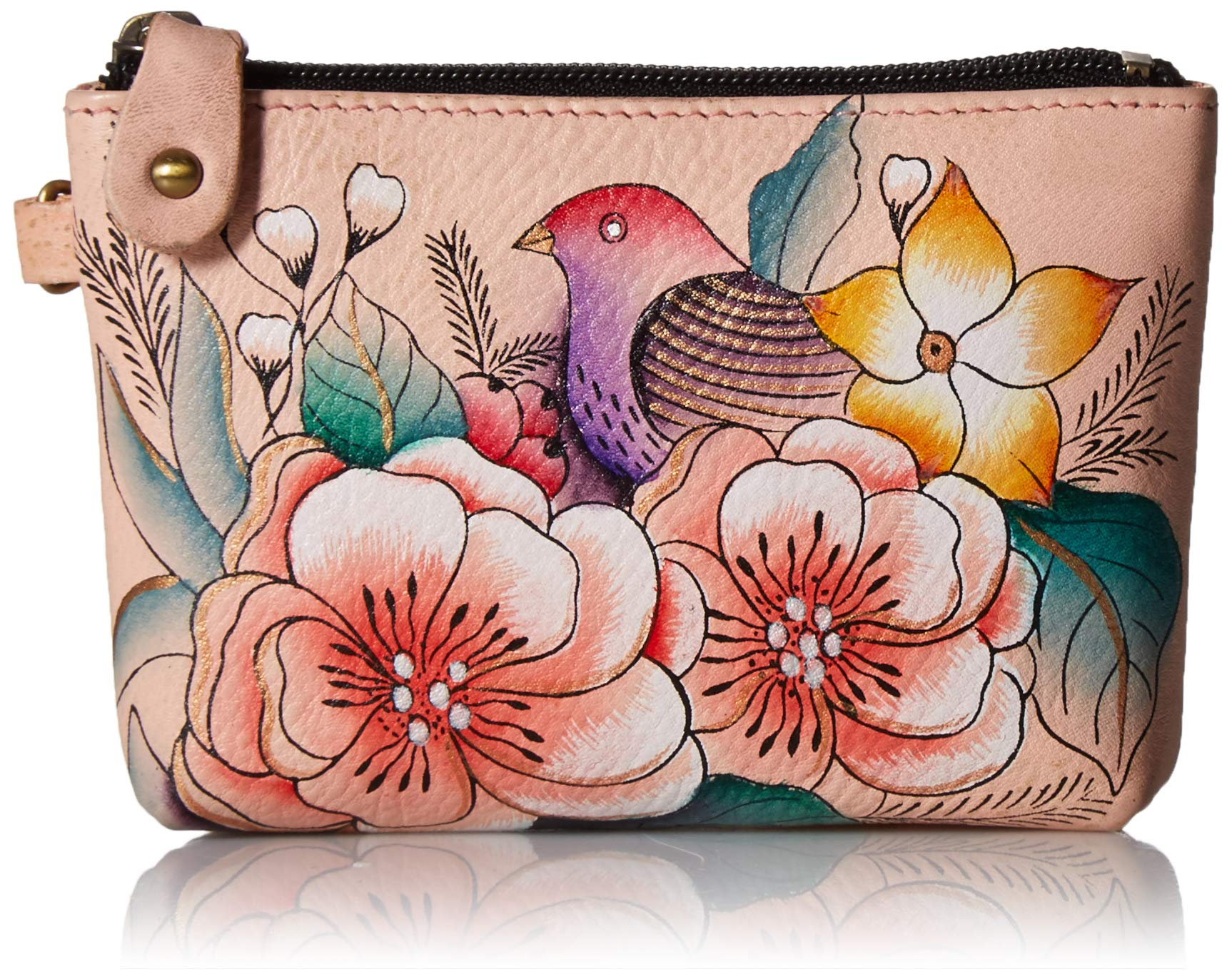 Anna by Anuschka Hand Painted Leather Women's Coin Pouch, Vintage Garden