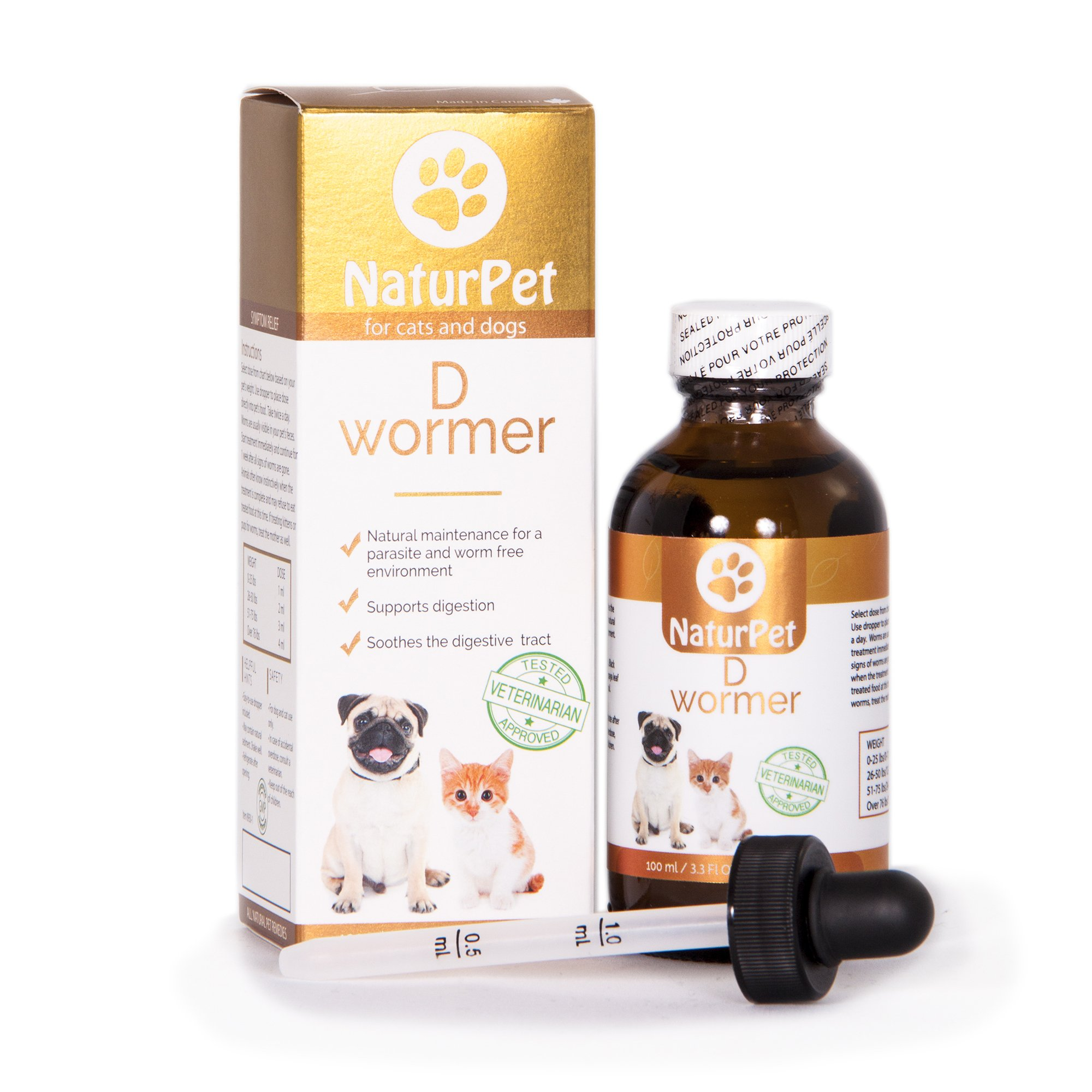 NaturPet D Wormer | 100% Natural, Safe, Effective Dewormer for Dogs and Cats | 3.3 oz Liquid Herbal Dewormer | The Only Natural Pet Deworming Medicine That soothes & Heals The Digestive Tract by NaturPet