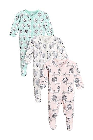 020cb751ae next Baby - Mädchen Schlafanzug Mit Woodland-Figuren Im 3Er-Pack Rosa/Minze