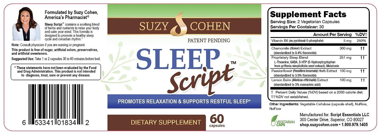 Sleep Script Tranquility Caps with Chamomile, Passionflower, GABA,  Theanine, 5-HTP, Melatonin,