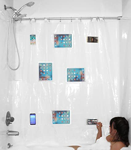 YouTub Premium Clear Shower Curtain Liner With Waterproof Media Pockets For  Touchscreen Phones IPhone Tablet IPad
