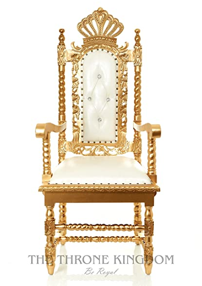White U0026 Gold Mahogany Crown Party Throne Chair   Crystal Tufted