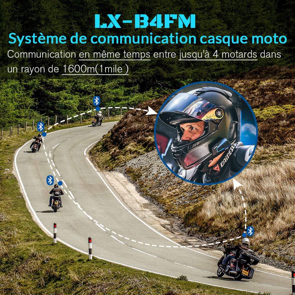 moto auricolare bluetooth con FM casco interfono bluetooth con cancellazione del rumore LEXIN LX-B4FM interfono moto interfono Bluetooth per moto fino a 4 riders comunicazione Bluetooth per moto