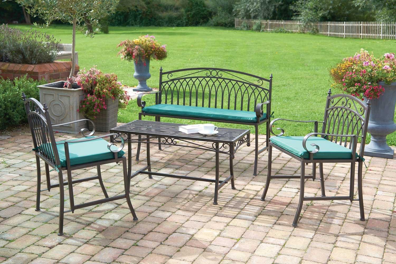 4 pc juego de muebles de jardín con cojines inc acabado en ...