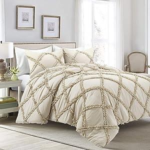 Lush Decor Ruffle Diamond 3 Piece Comforter Set, Full/Queen, Neutral