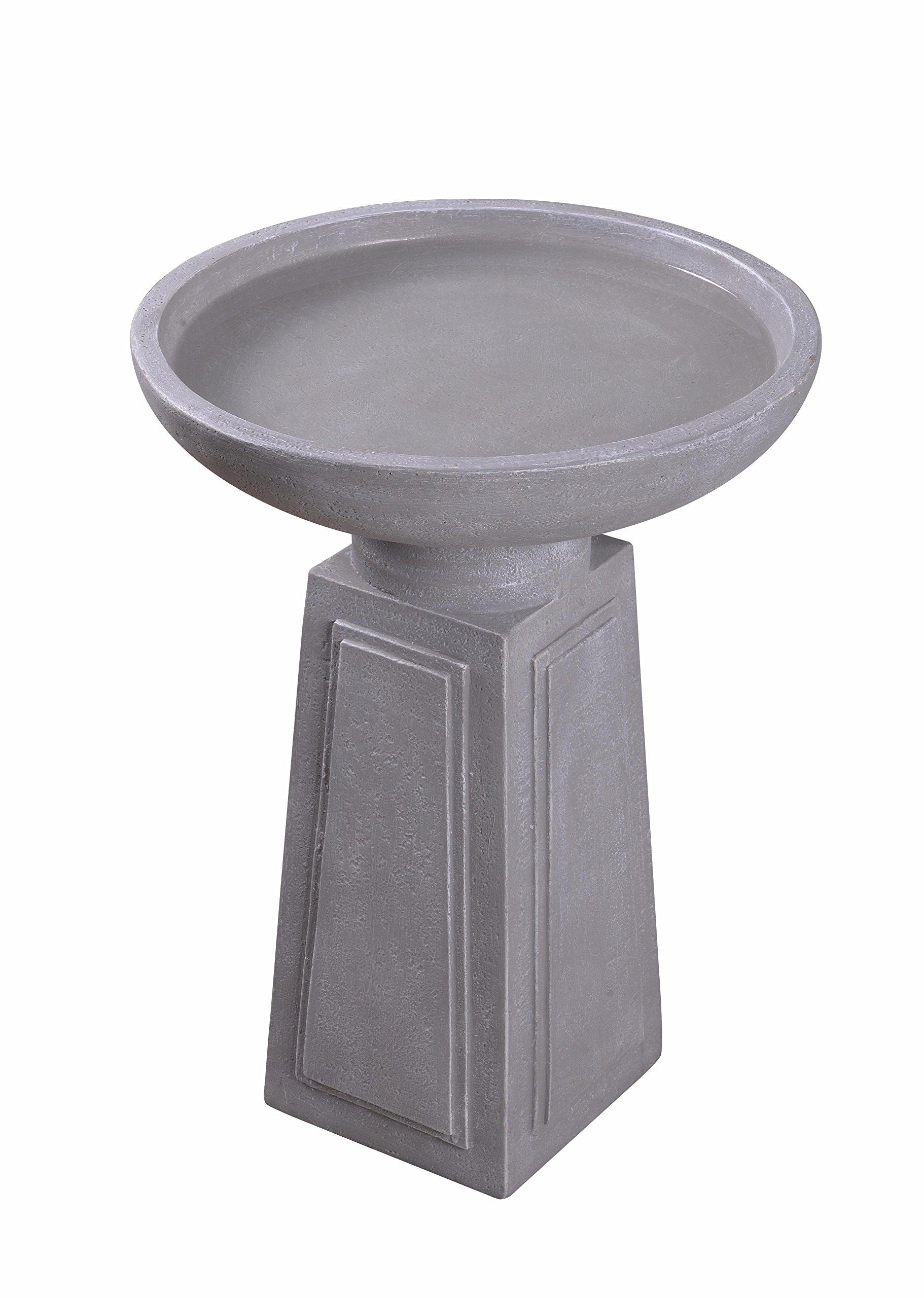 Kenroy Home 51050CON Pedestal Birdbath 21.5 Inch Height Concrete Finish