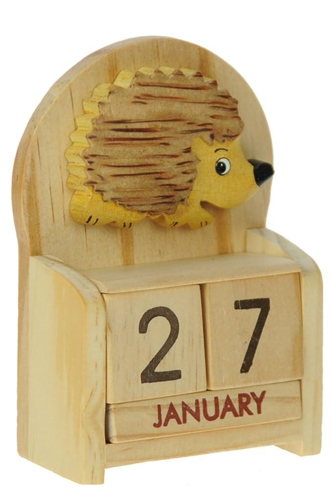 Hérisson : Calendrier Perpétuel en Bois : traditionnel fait main cadeau d'anniversaire et de Noël Idées cadeau de Noël : Taille : 10,5 X 7 X 3,5 Cm : achetez un insolite et Quirky Alternative &a