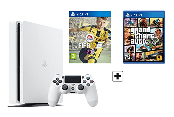 PS4 Slim 500Gb Blanca Playstation 4 Consola - Pack 2 Juegos - FIFA 17 + GTA V