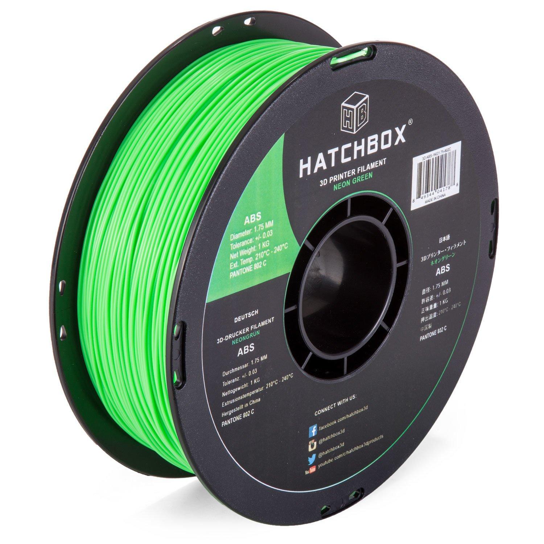 HATCHBOX 3D ABS-1KG1.75-802C ABS 3D Printer Filament, Dimensional Accuracy +/- 0.05 mm, 1 kg Spool, 1.75 mm, Neon Green