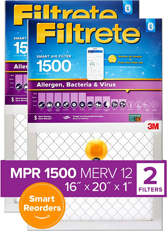 2-Pack MPR 1500 Filtrete 16x20x1 Smart Replenishable AC Furnace Air Filter Bacteria /& Virus Allergen