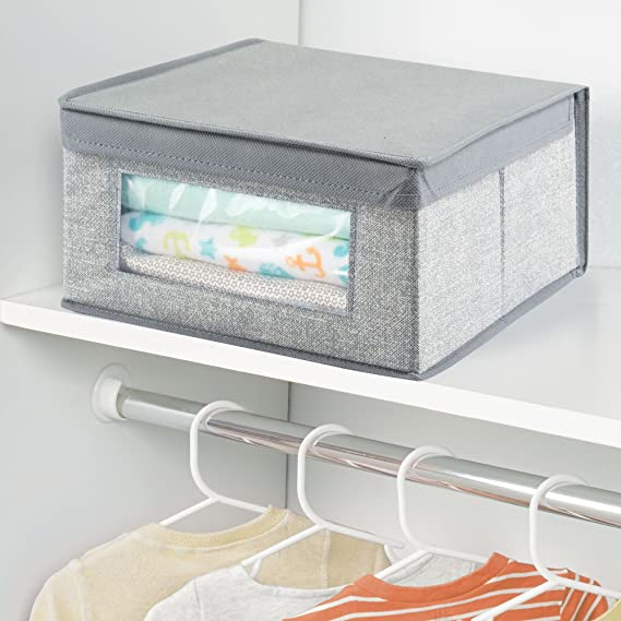 Amazon.com: mDesign Soft Stackable Fabric Closet Storage Organizer Holder Box - Clear Window, Attached Lid, for Child/Kid Room, Nursery - Textured Print ...