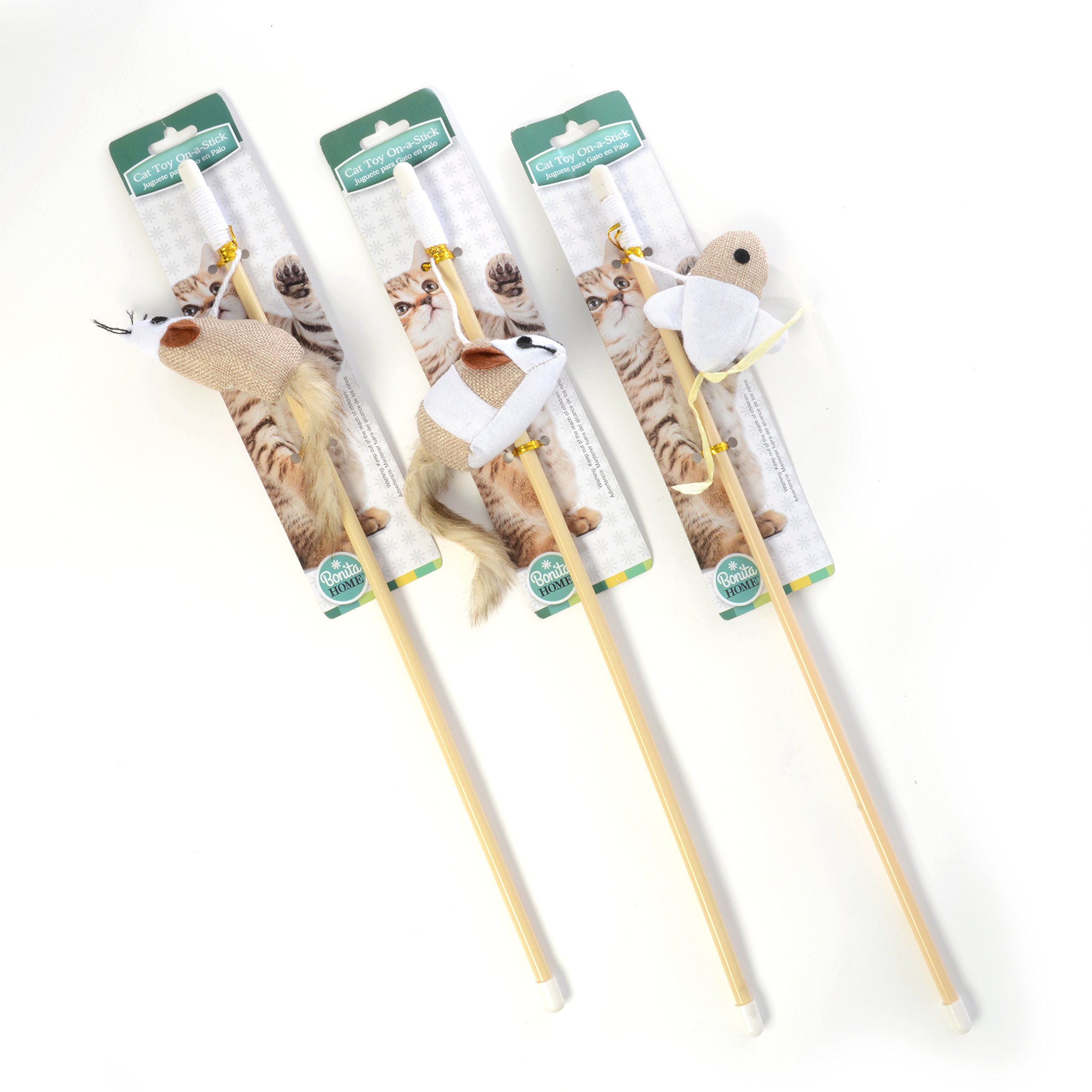 Asst Design Cat Toy On Stick, Case of 48