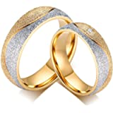 His and Hers Couples Rings Promise Rings Wedding Engagement Rings for Couples | Two Tones Gold and Silver Elegant Design