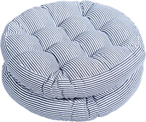Tiita Indoor/Outdoor Cushions 20 Inch Round Striped Chair Cushions for Patio Garden Seat Cushion Pads for Home Floor Pillows Window Pad Set of 2, Blue
