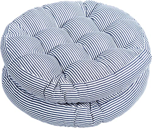 Tiita Indoor Outdoor Cushions 20 Inch Round Striped Chair Cushions for Patio Garden Seat Cushion Pads for Home Floor Pillows Window Pad Set of 2, Blue