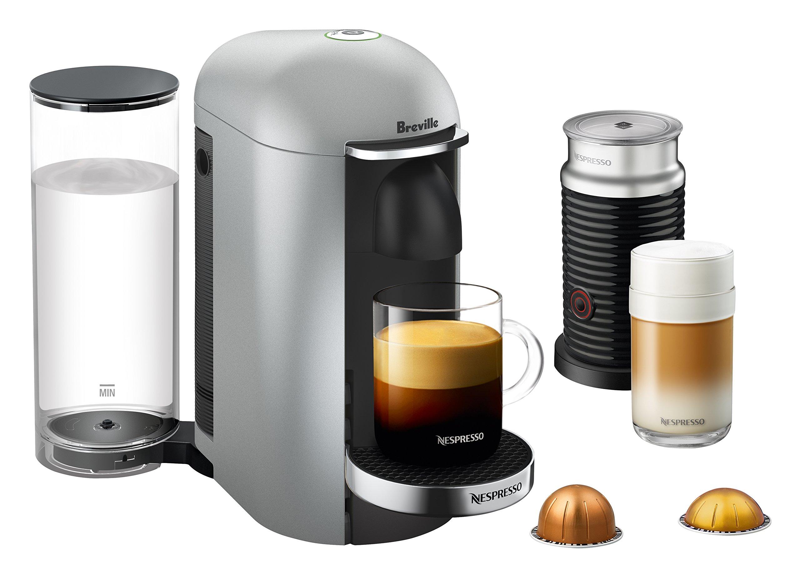 Nespresso VertuoPlus Deluxe Coffee and Espresso Maker by Breville with Aeroccino, Silver