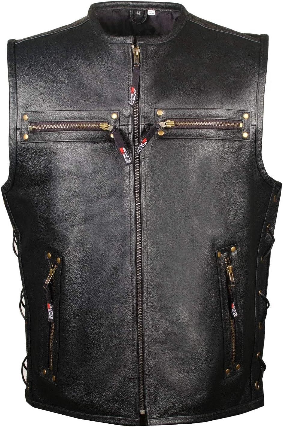 Viking Cycle Gardar Genuine Buffalo Leather Motorcycle Vest for Men Biker Club Vest with Concealed Carry Hidden Pocket