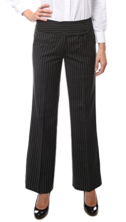 Womens Black Two Button Pinstripe Dress Pants- Plus Size Available ...