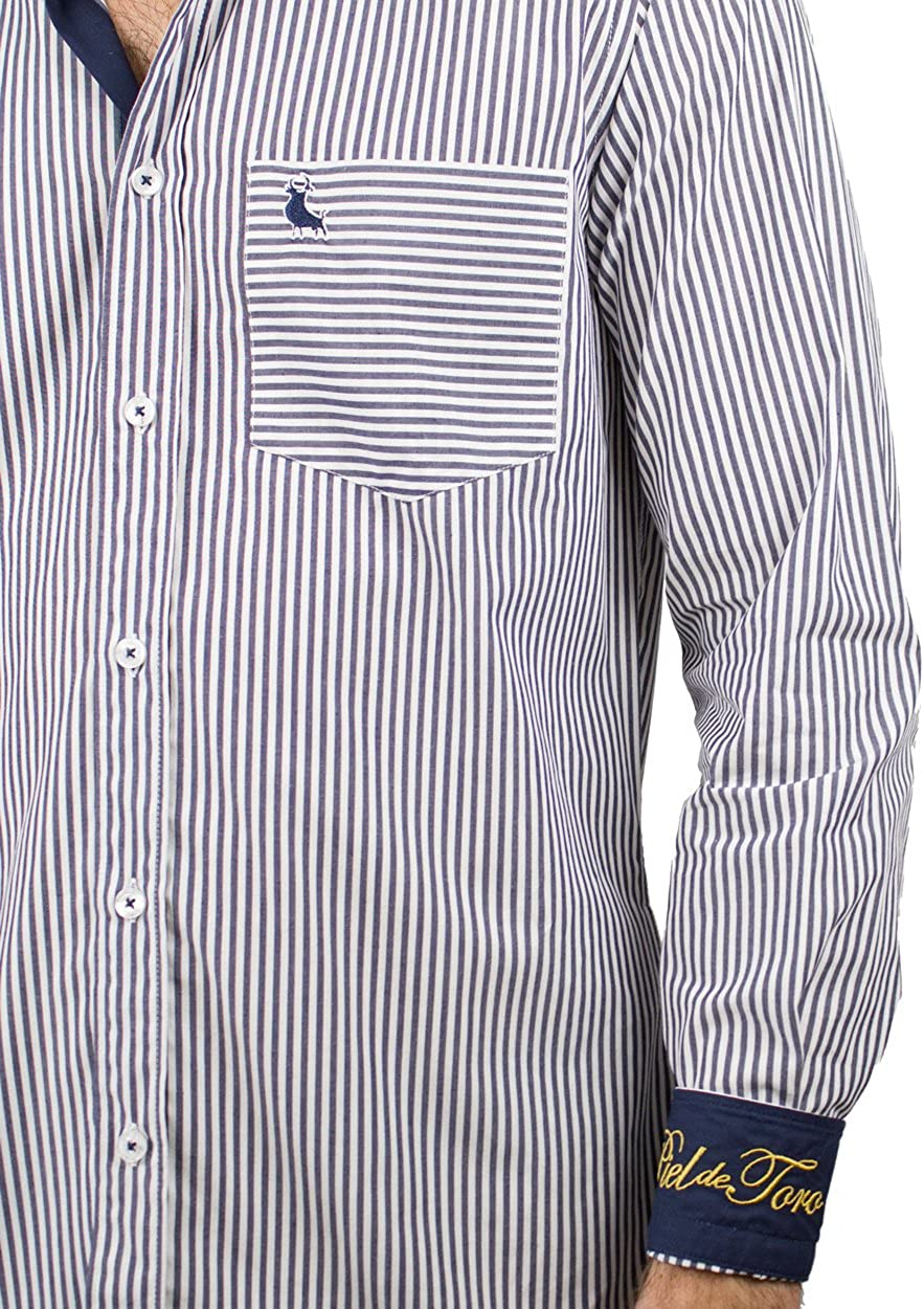 Piel de Toro Slim FIT Rayas Kodak Camisa Casual, Azul (Azul Marino ...