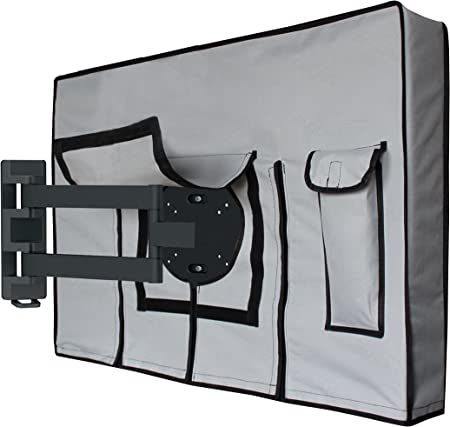Compatible with Standard Mounts and Stands. Built in Bottom Cover and Remote Storage Outdoor TV Cover 50-52 Black Weatherproof Universal Protector for LCD LED Plasma Television Screens