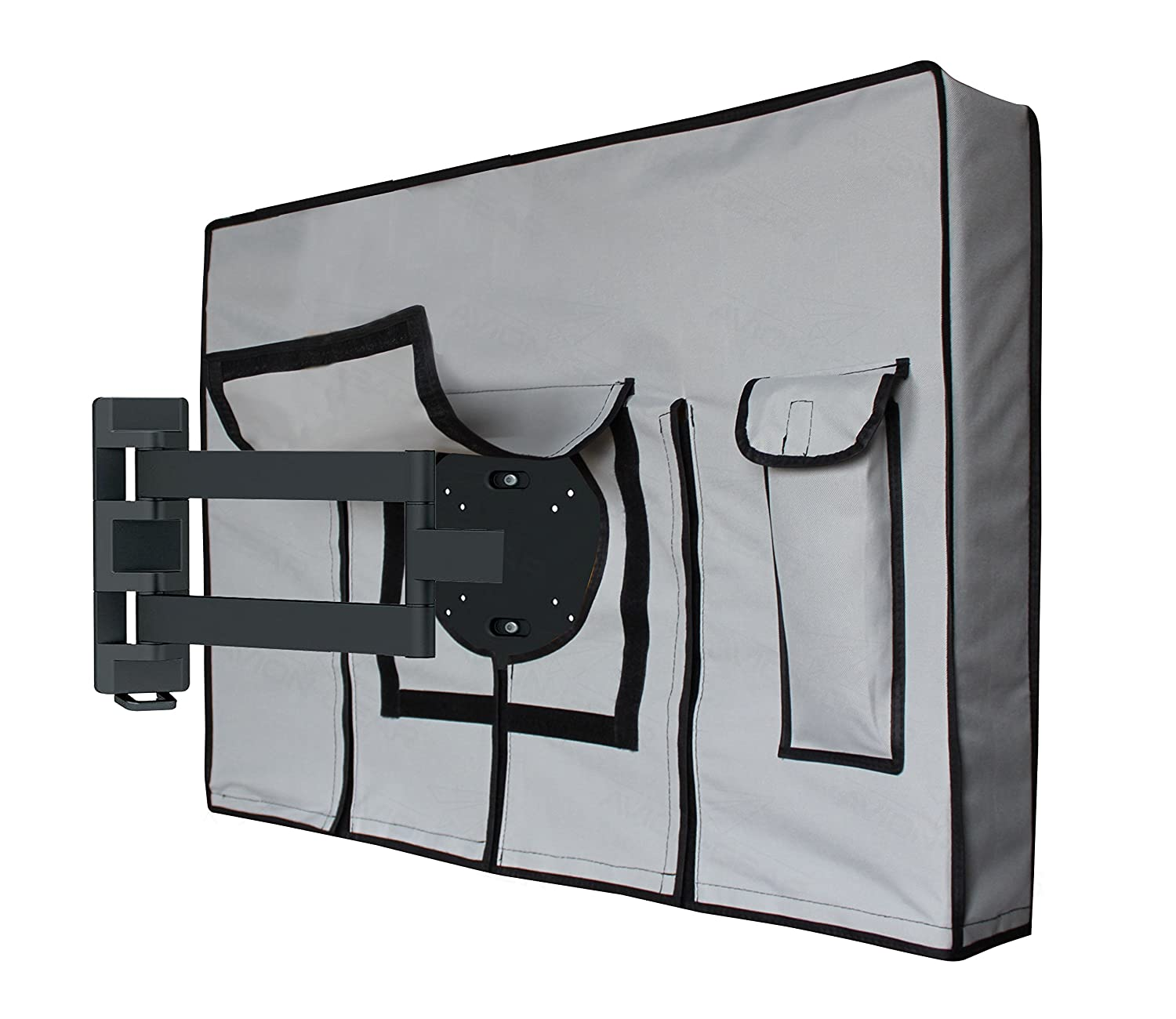 "Outdoor TV Cover - 30' 32"" Weatherproof Universal Protector for LED, LCD, Plasma TV Screens. Built in Fully Covered Bottom & Remote Storage. Fits Standard Mounts and Stands – Grey by: Avion Gear TV-033032"