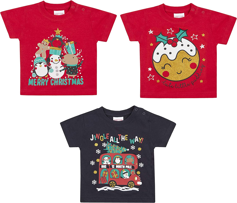 Metzuyan Unisex Baby 100/% Cotton Novelty Christmas T-Shirt