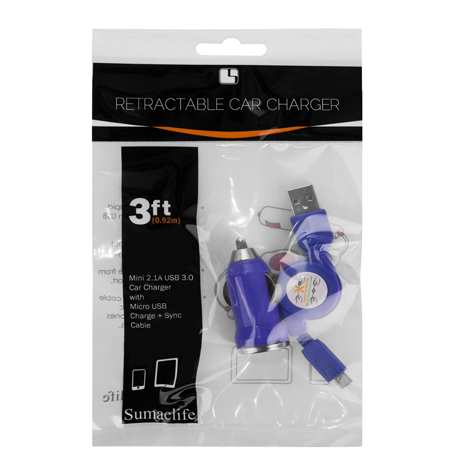 Navy Blue SumacLife 3 Retractable Micro USB Charge /& Sync Cable with 2.1A Mini USB 3.0 Car Charger