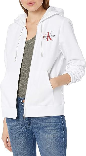 Calvin Klein Women's Monogram Logo Zip Up Hoodie Sweatshirt