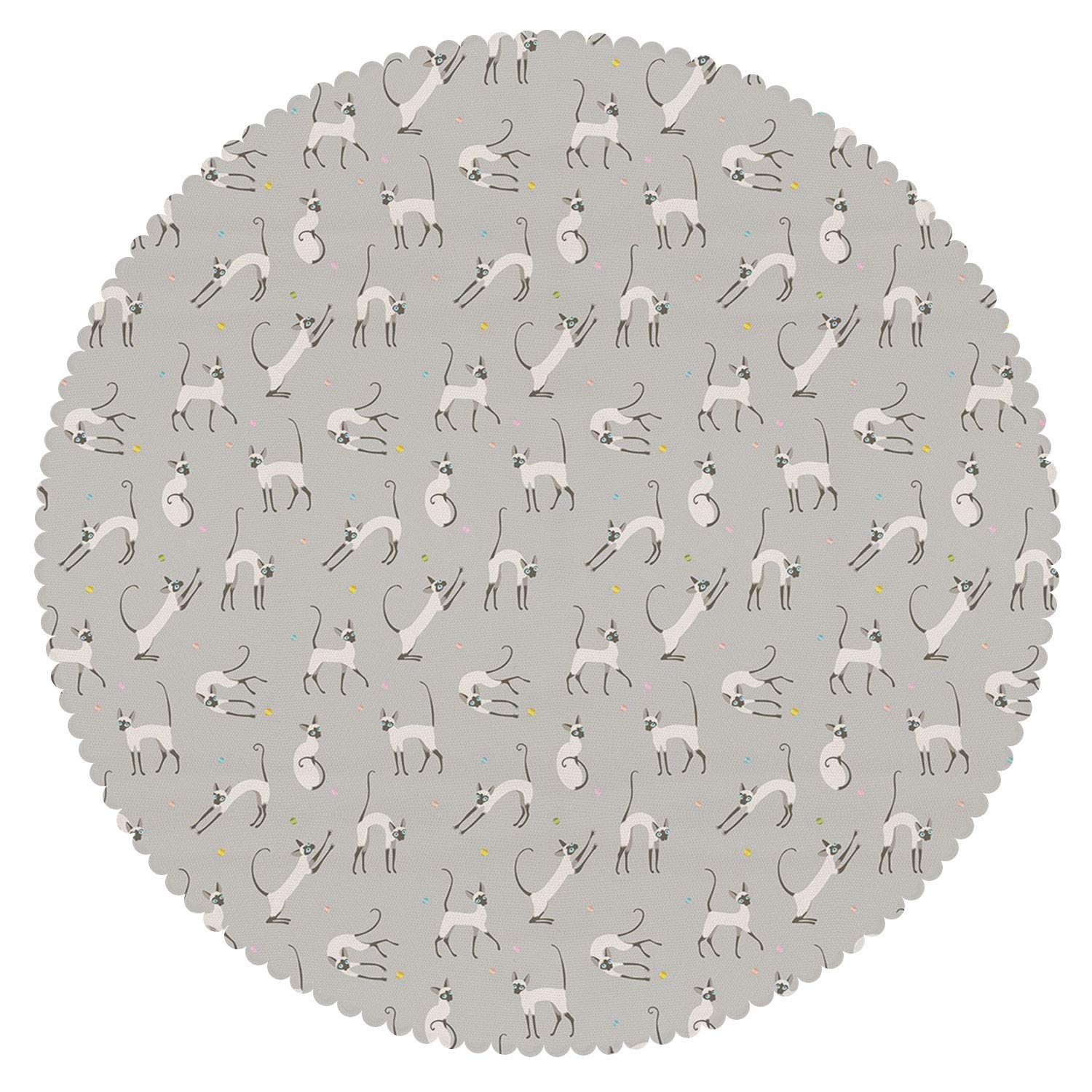 iPrint Cool Round Tablecloth [ Grey,Cute Siamese Cat on Wall Design Playing and Posing Feline Asian Kitty Animal Design,Pale Grey ] Home Accessories Home Decoration