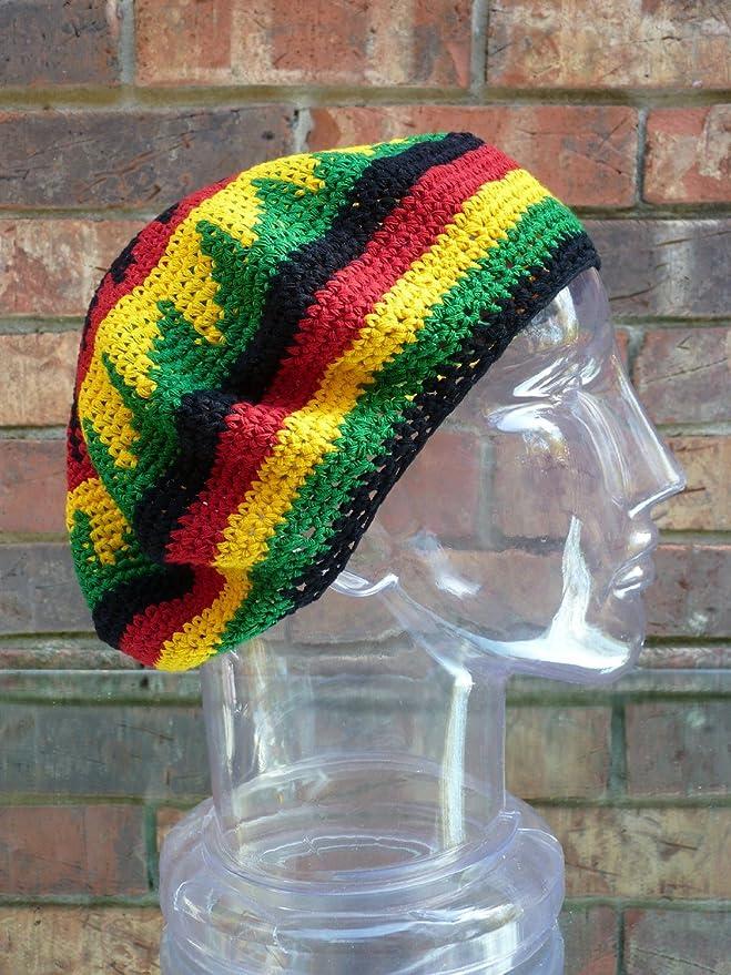 Tam Beret Hand Crochet Knit Slouchy Dread Rasta Reggae Hat With