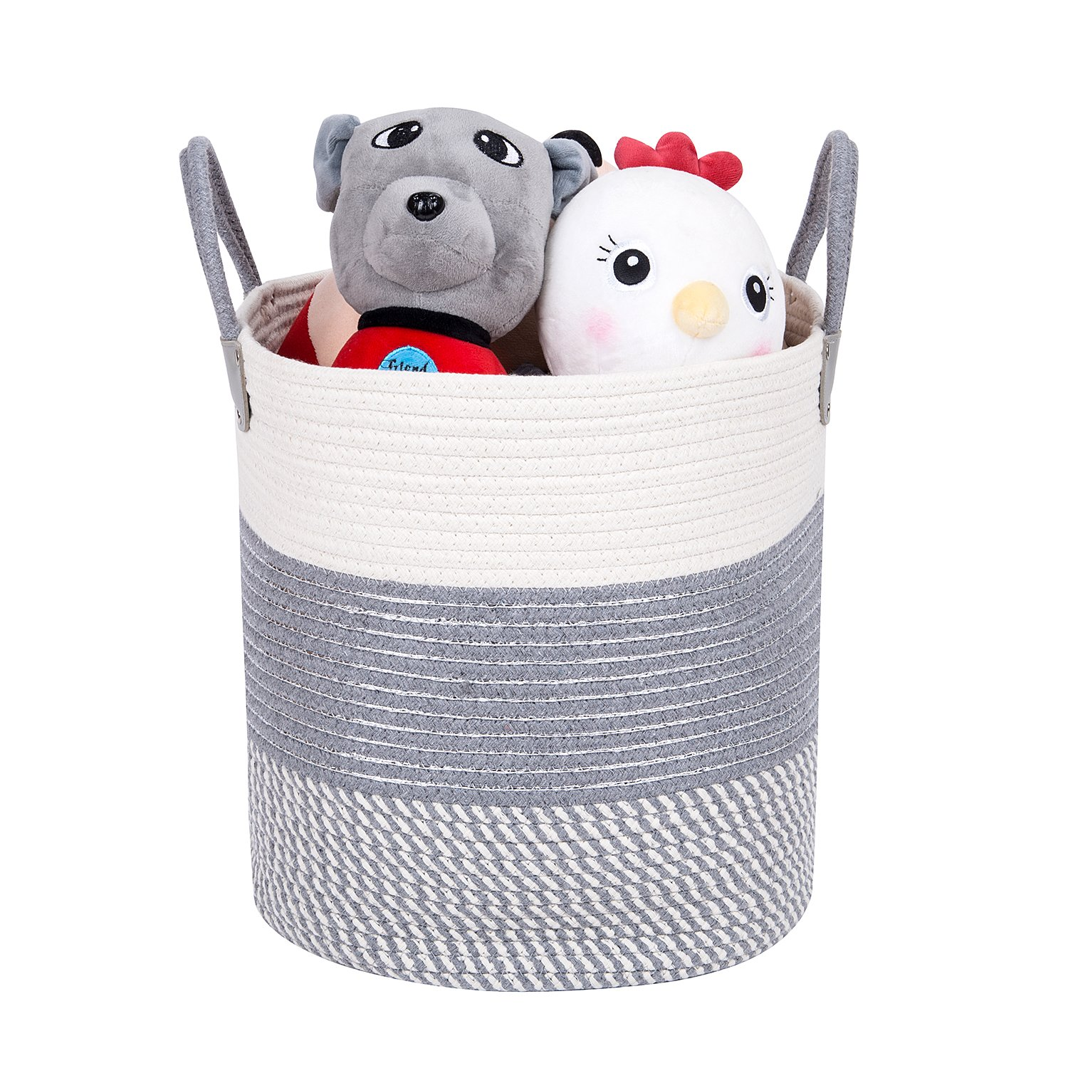 Storage Baskets Cotton Rope with Handle - 13.8'' x 13.8'' Woven Storage Bin for Baby Toy Laundry Basket for Blanket Clothes Home Decorative(White Grey and Silver)