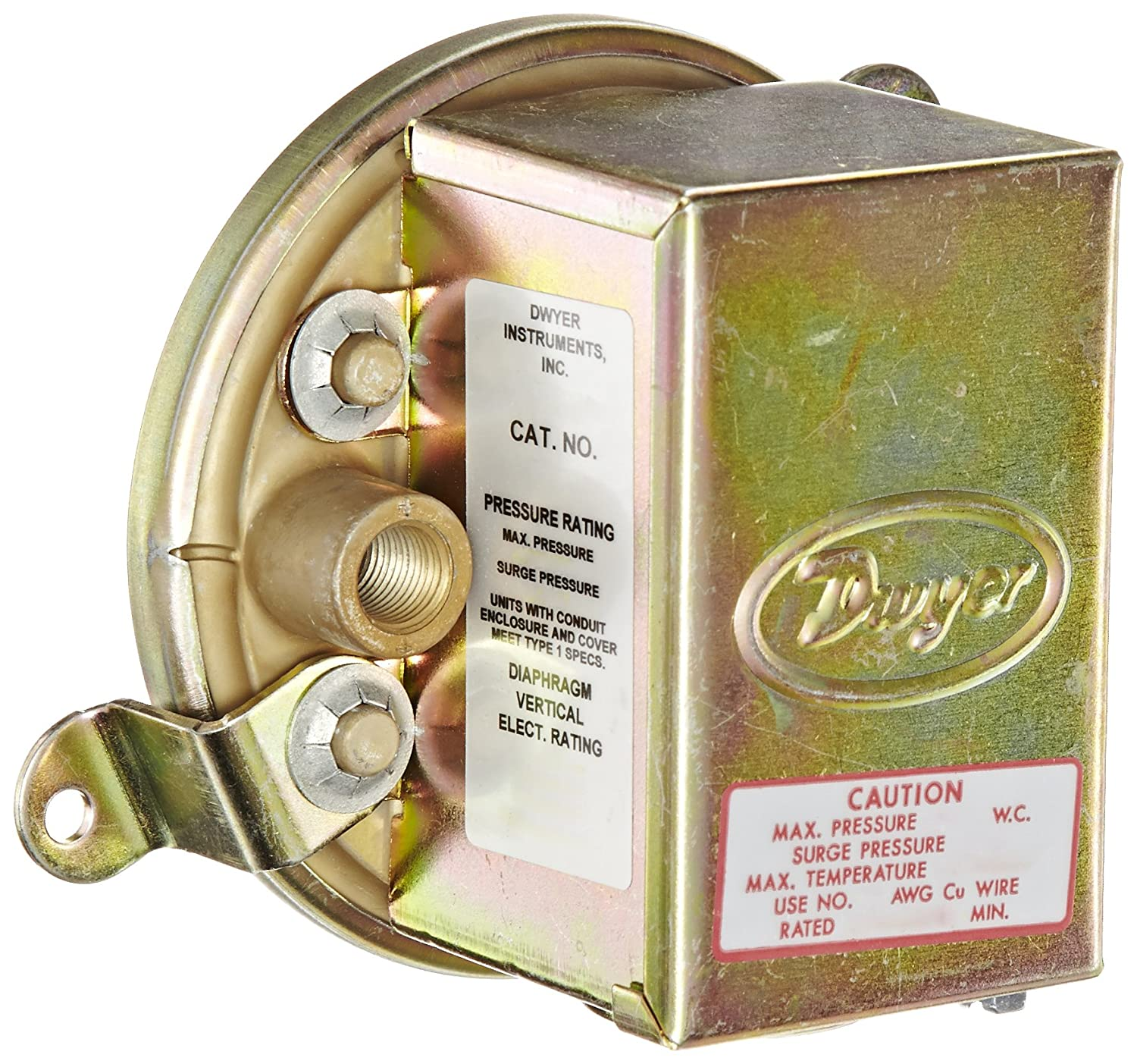 Dwyer Series 1900 Compact Low Differential Pressure Switch with Conduit Range 0.07 0.15WC