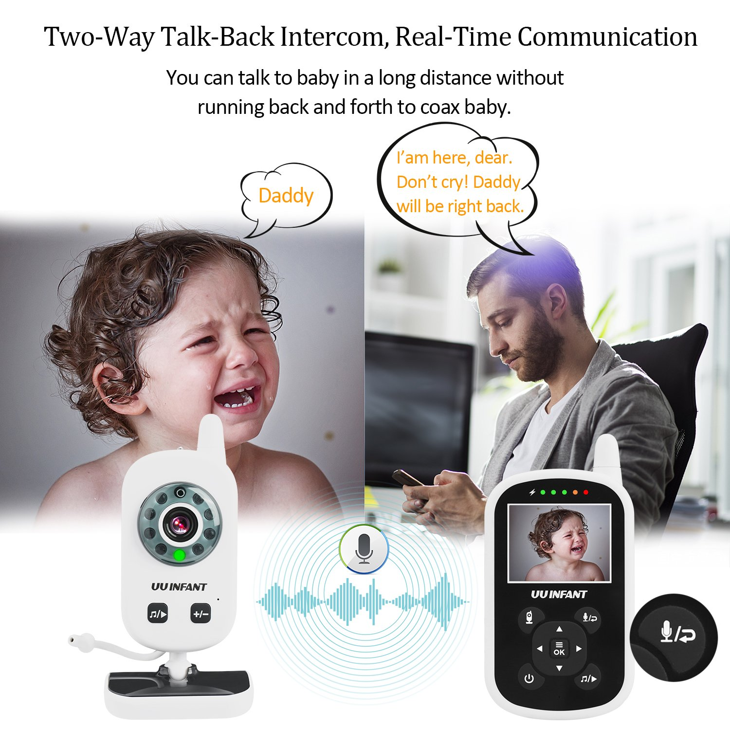 Baby Monitor, Video Baby Monitor with Camera- Wireless Video Monitor for Baby Safety- with Infrared Night Vision/Two Way Talkback/Temperature Monitor/Lullaby-Play (White) by UU Infant (Image #3)