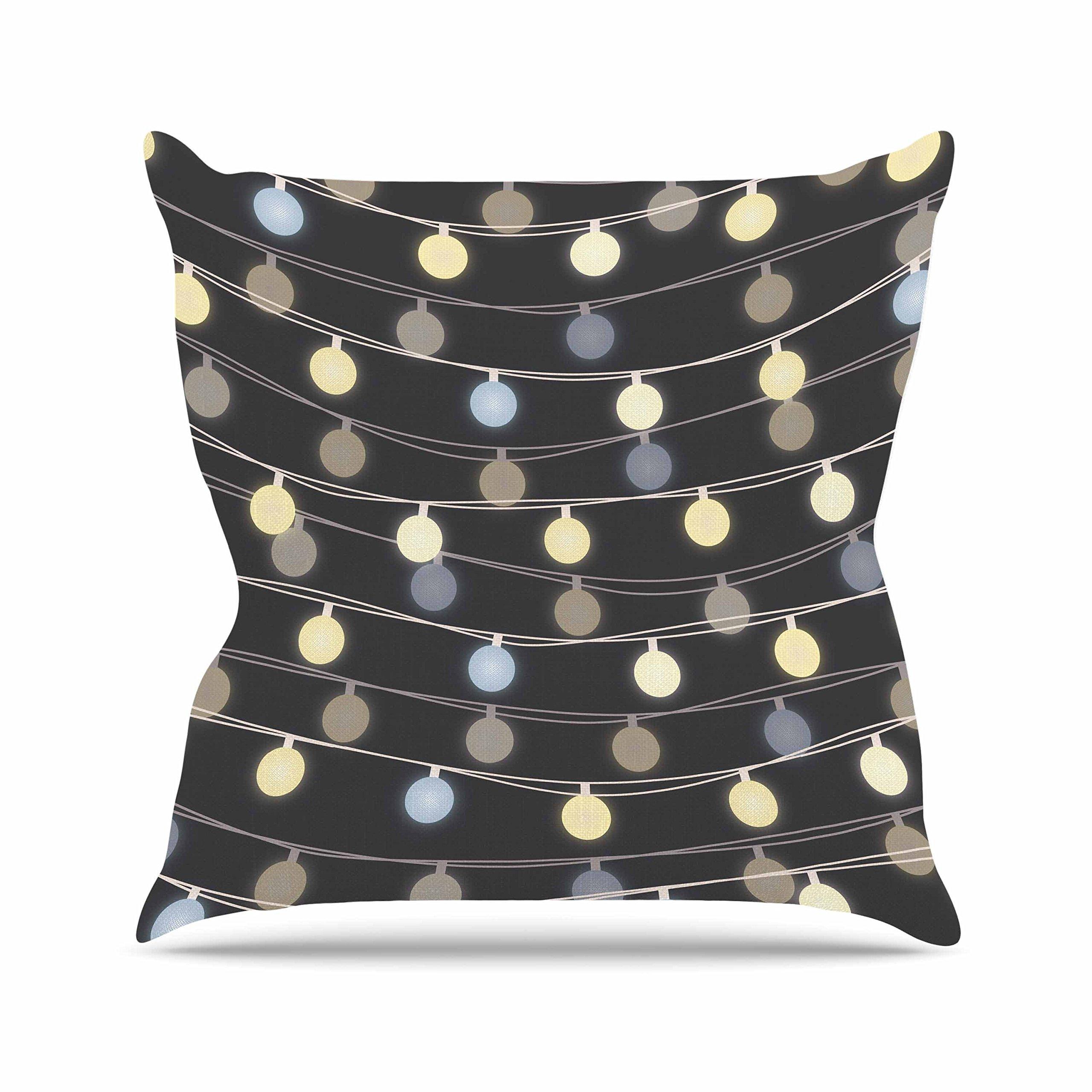 Kess InHouse Marta Olga Klara Fairy Lights Love Bokeh Outdoor Throw Pillow, 16'' x 16''