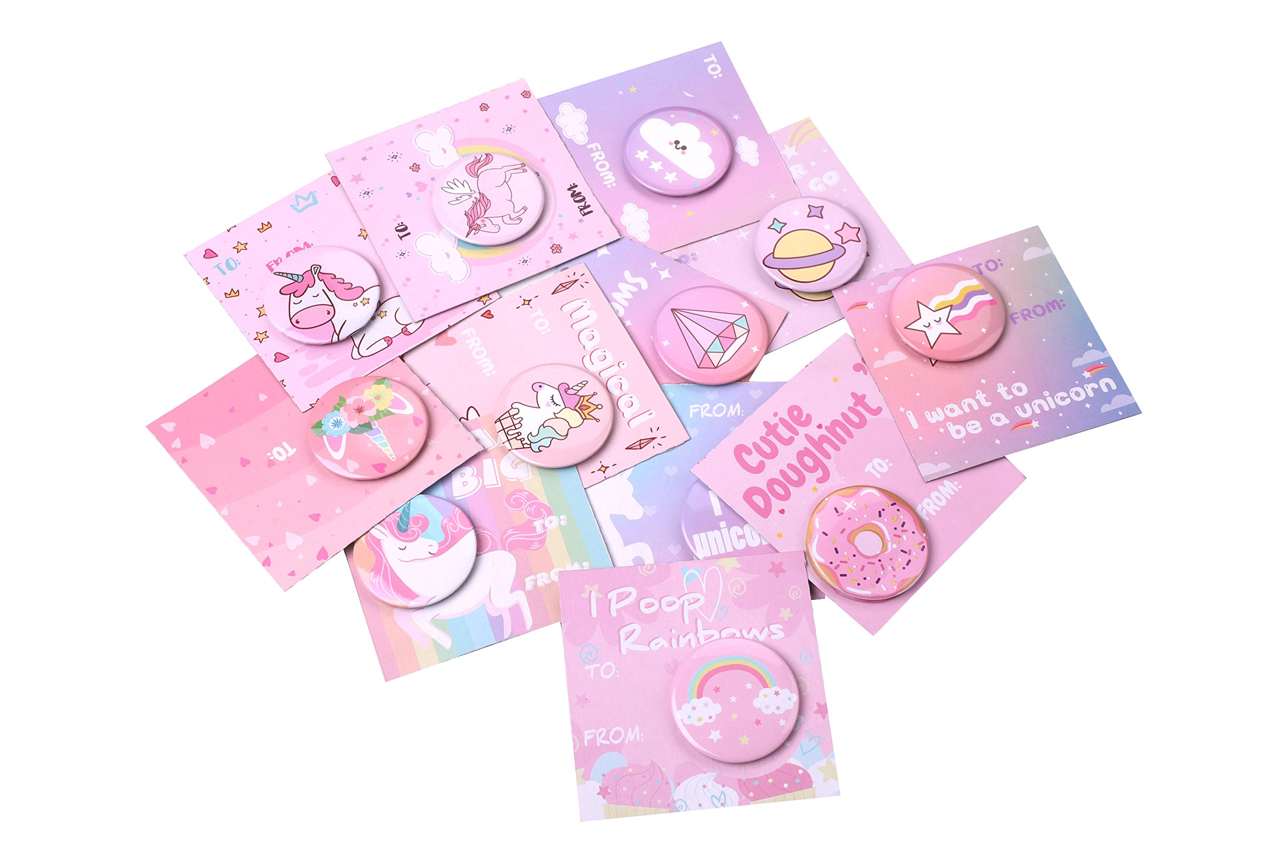 Geefuun Unicorn Pins Valentine's Day/Birthday Party Favors Decorations Girl Gift Badges Magical Rainbow Cards Supplies 7