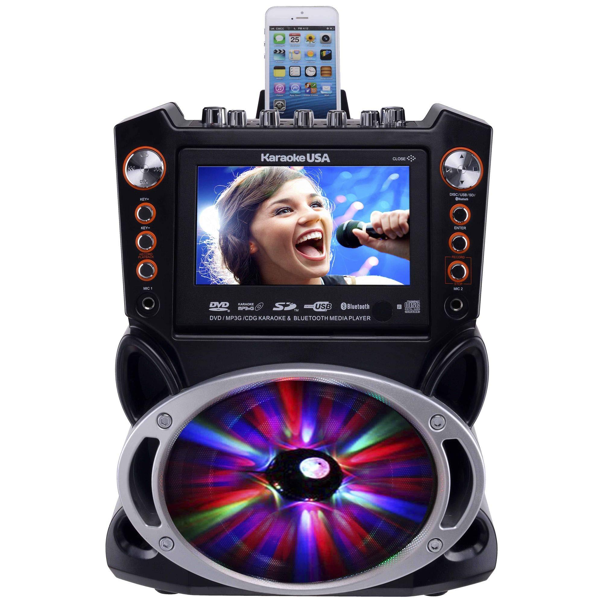 Karaoke USA GF846 DVD/CDG/MP3G Karaoke Machine with 7'' TFT Color Screen, Record, Bluetooth and LED Sync Lights by Karaoke USA (Image #3)