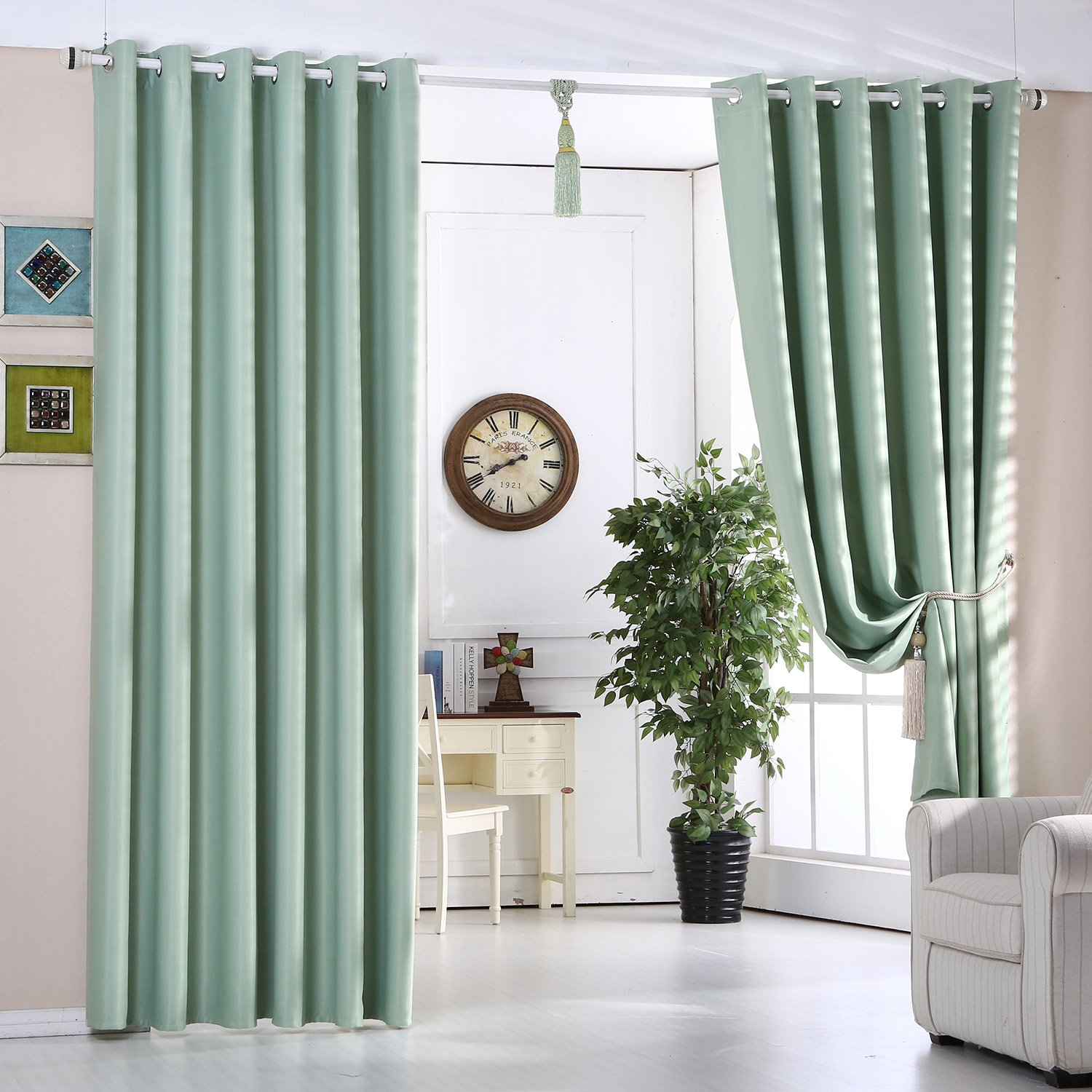 Mint Green Blackout Curtains Ready Made Ring Top Eyelet Energy Saving Thermal Insulated 66