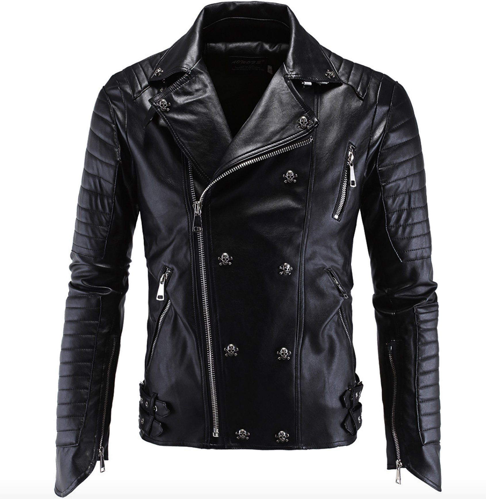 Elonglin Mens Coat Moto Rivet Skull Jacket Faux Leather Black US M (Asian XXL)