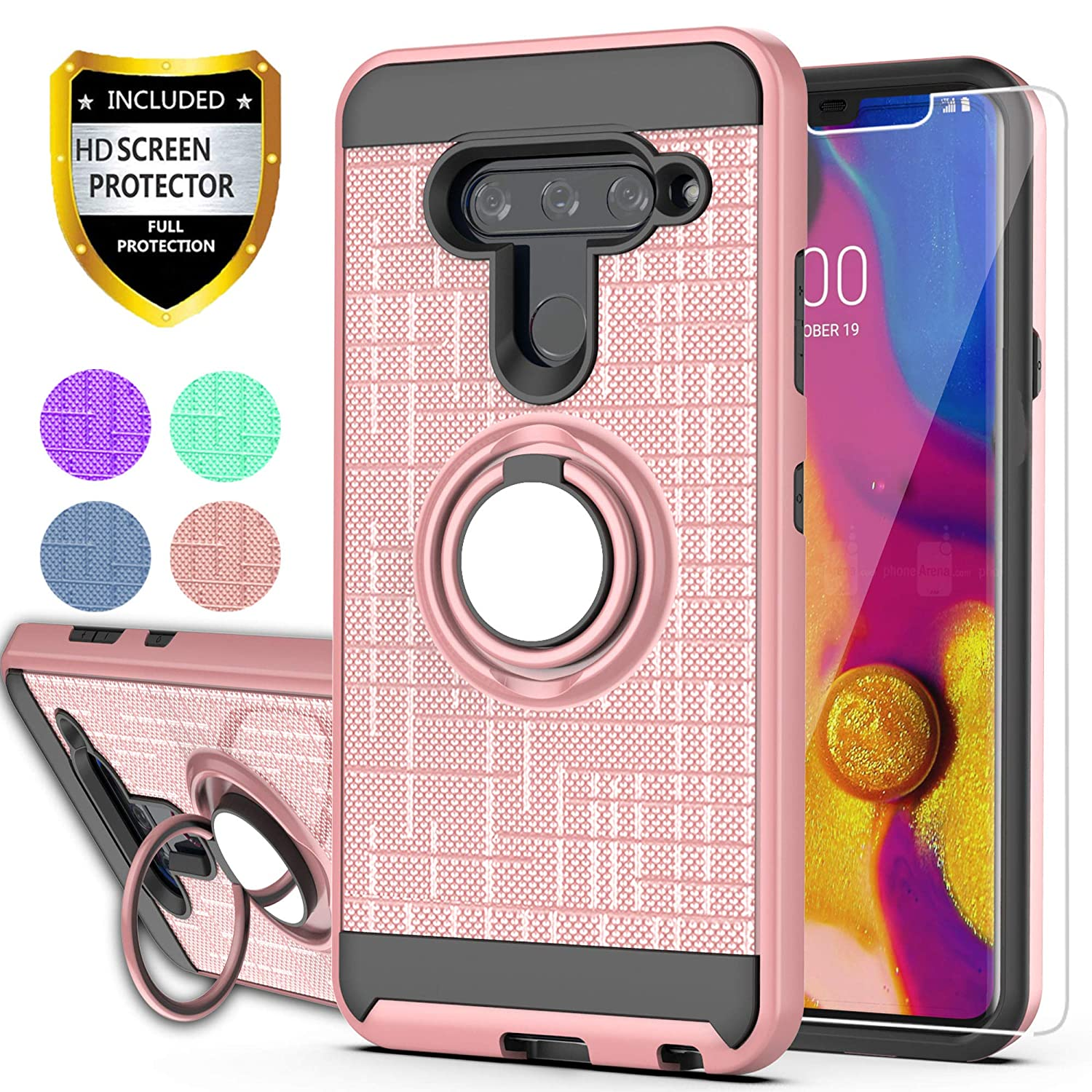 YmhxcY LG V40 ThinQ Phone Case,LG V40 Cases with HD Phone Screen Protector, 360 Degree Rotating Ring & Bracket Dual Layer Resistant Back Cover for LG V40-ZH Rose Gold
