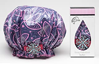 product image for Dry Divas Designer Shower Cap For Women - Washable, Reusable - Large Bouffant Cap With Vintage Jeweled Brooch (Ivy League)