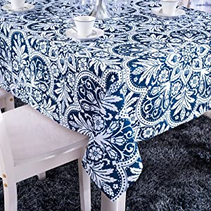 ColorBird Vintage Royalty Washable Floral Print Rectangle Polyester Tablecloth Fashion Table Cover (55''×55'', Blue)