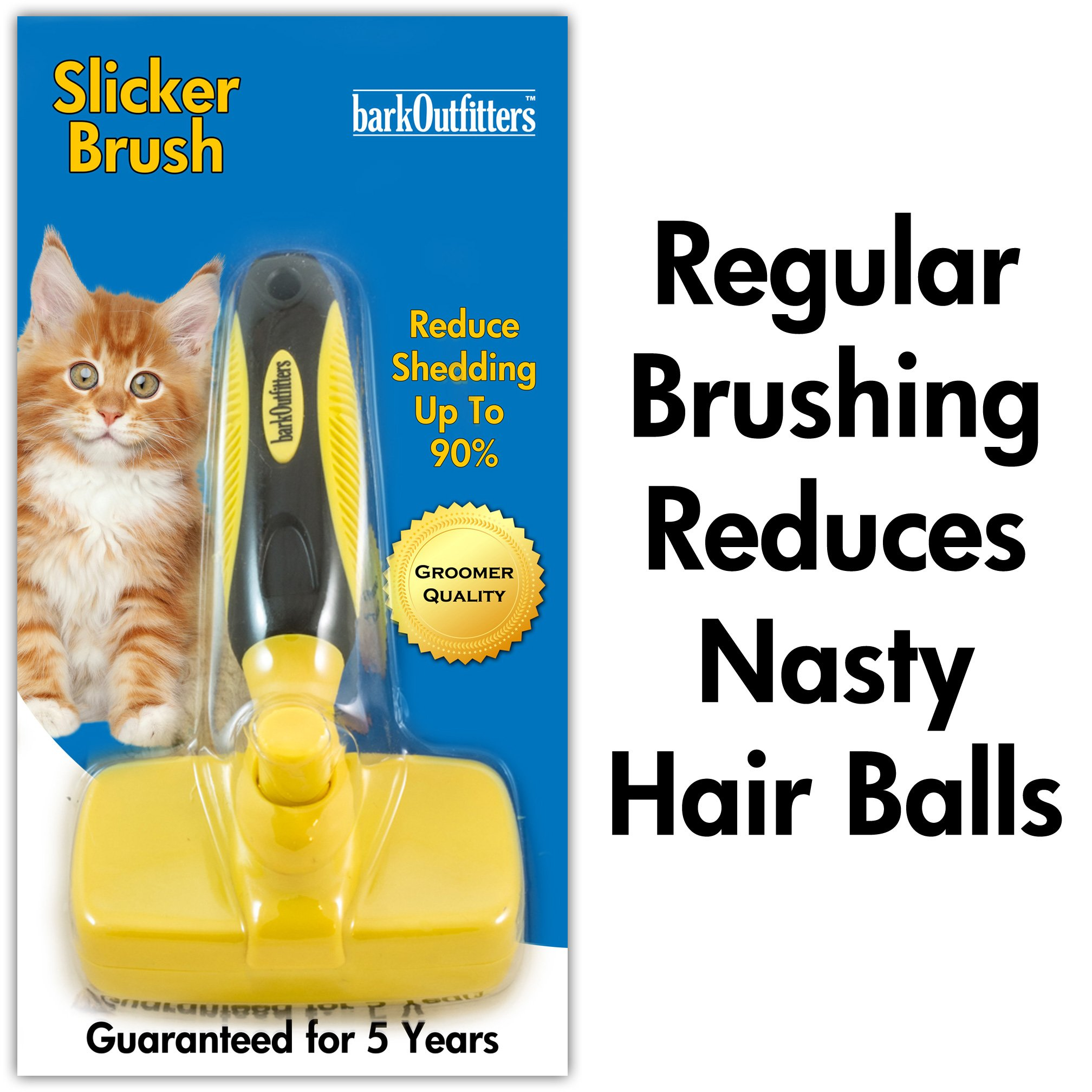 barkOutfitters Cat Slicker Brush, Quick Self-Cleaning Pro Quality Grooming Comb for Cats by barkOutfitters (Image #5)