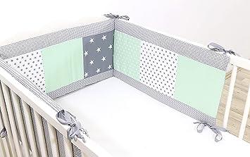 Ullenboom Nestchen Mint Grau 180x30 Cm Baby Bettnestchen Bettumrandung Fur 120x60 Cm Babybett Kopfbereich Motiv Punkte Sterne Patchwork