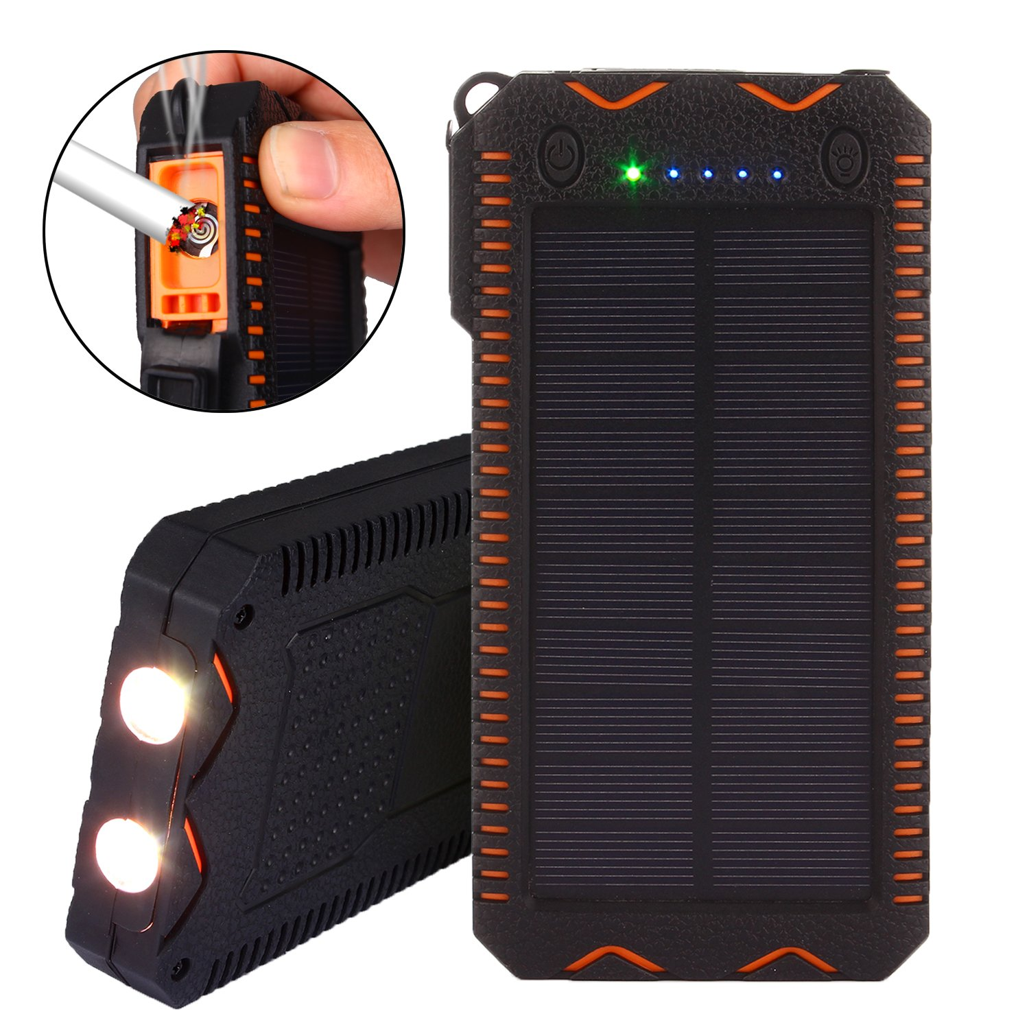 Solar Charger, TechVibe 15000mAh Solar Power Bank with Flashlight, Cigarette Lighter, Dual USB Port Outdoor Water-Resistant Backup Battery Pack -Orange by TechVibe