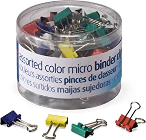 OfficemateOIC Micro Binder Clips, Assorted Colors, 100 Clips per Tub (31023)
