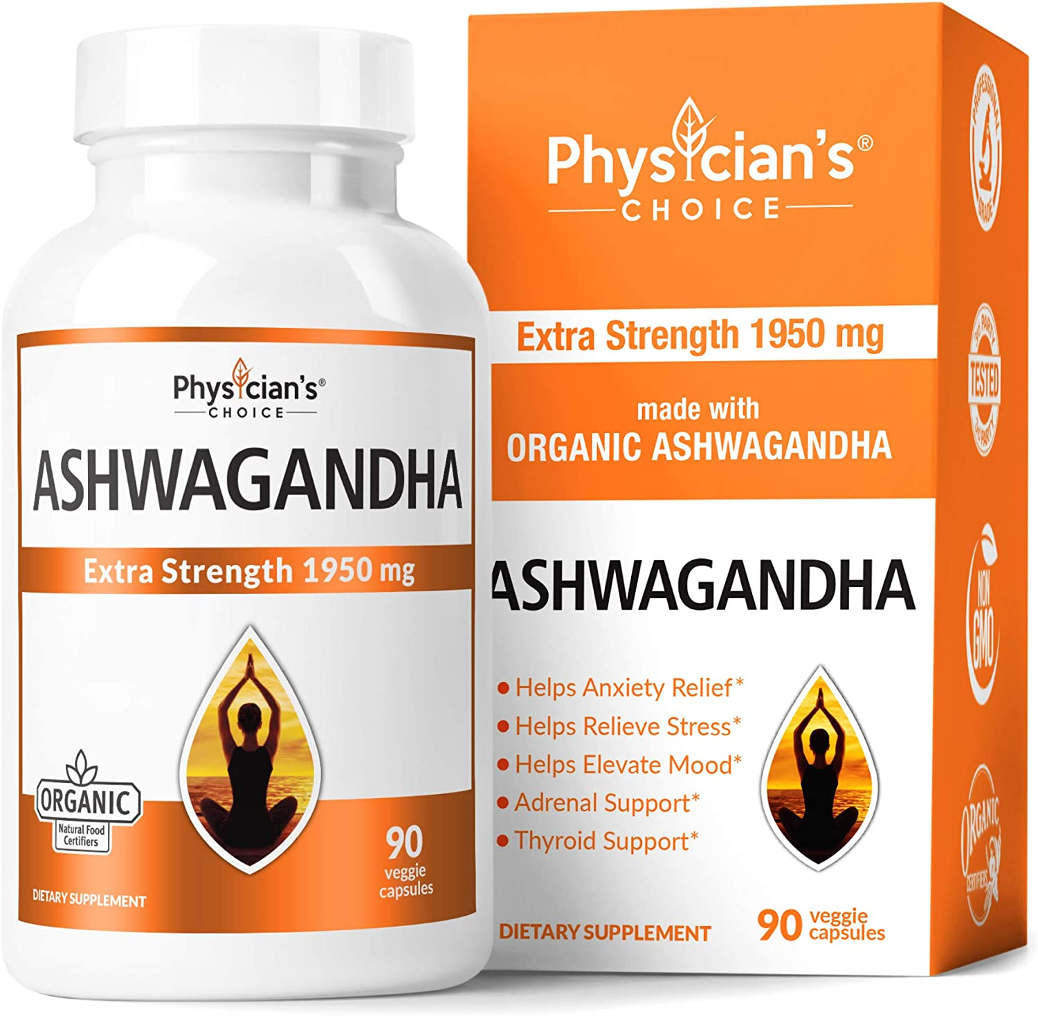 Ashwagandha 1950mg Organic Ashwagandha Root Powder Extract of Black Pepper Anxiety Relief, Thyroid Support, Cortisol & Adrenal Support, Anti Anxiety & Adrenal Fatigue Supplements 90 Veggie Capsules: Health & Personal Care