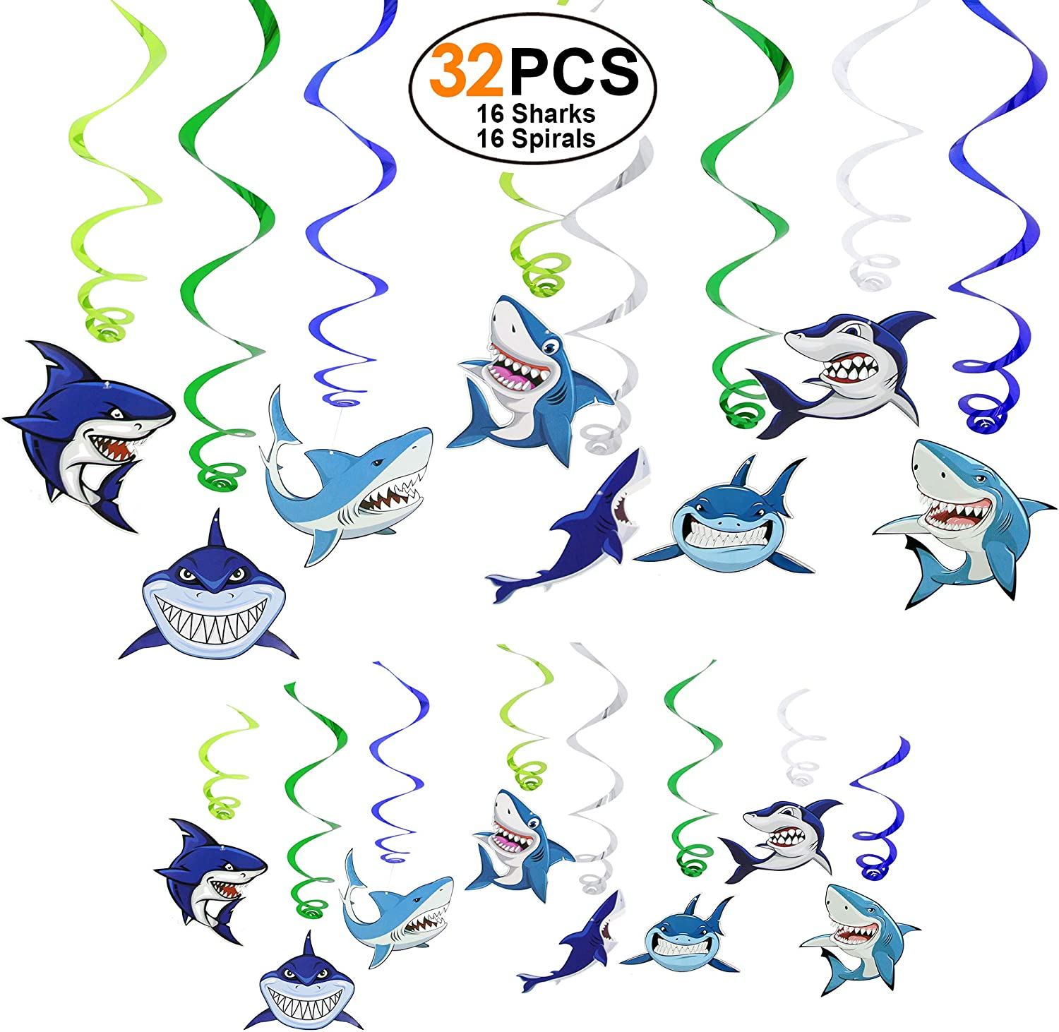 Shark Birthday Decorations Party Supplies Set of 32 Hanging Swirls Ceiling Ornaments Party Favors Streamers Decor for Baby Shower Party Ocean Under the Sea Party
