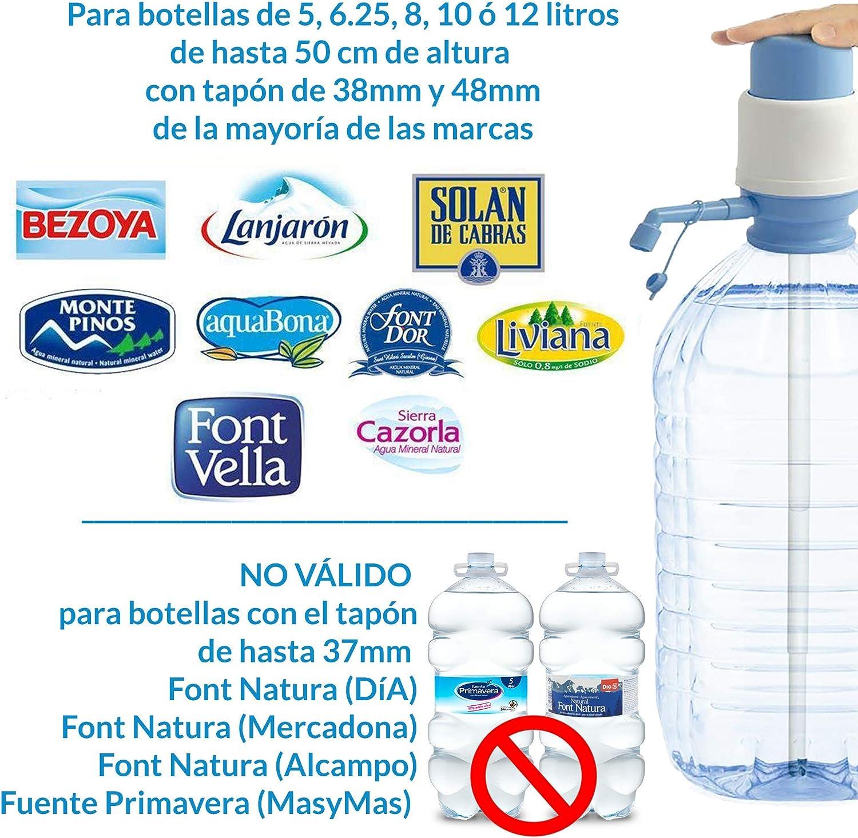 MovilCom® - Dispensador Agua para garrafas | Dosificador Agua garrafas Compatible con Botellas (Pet) de 2,5, 3, 5, 6, 8, 10 y 12 litros | para Botellas con el tapón diámetro 38mm y 48mm: Amazon.es: Hogar