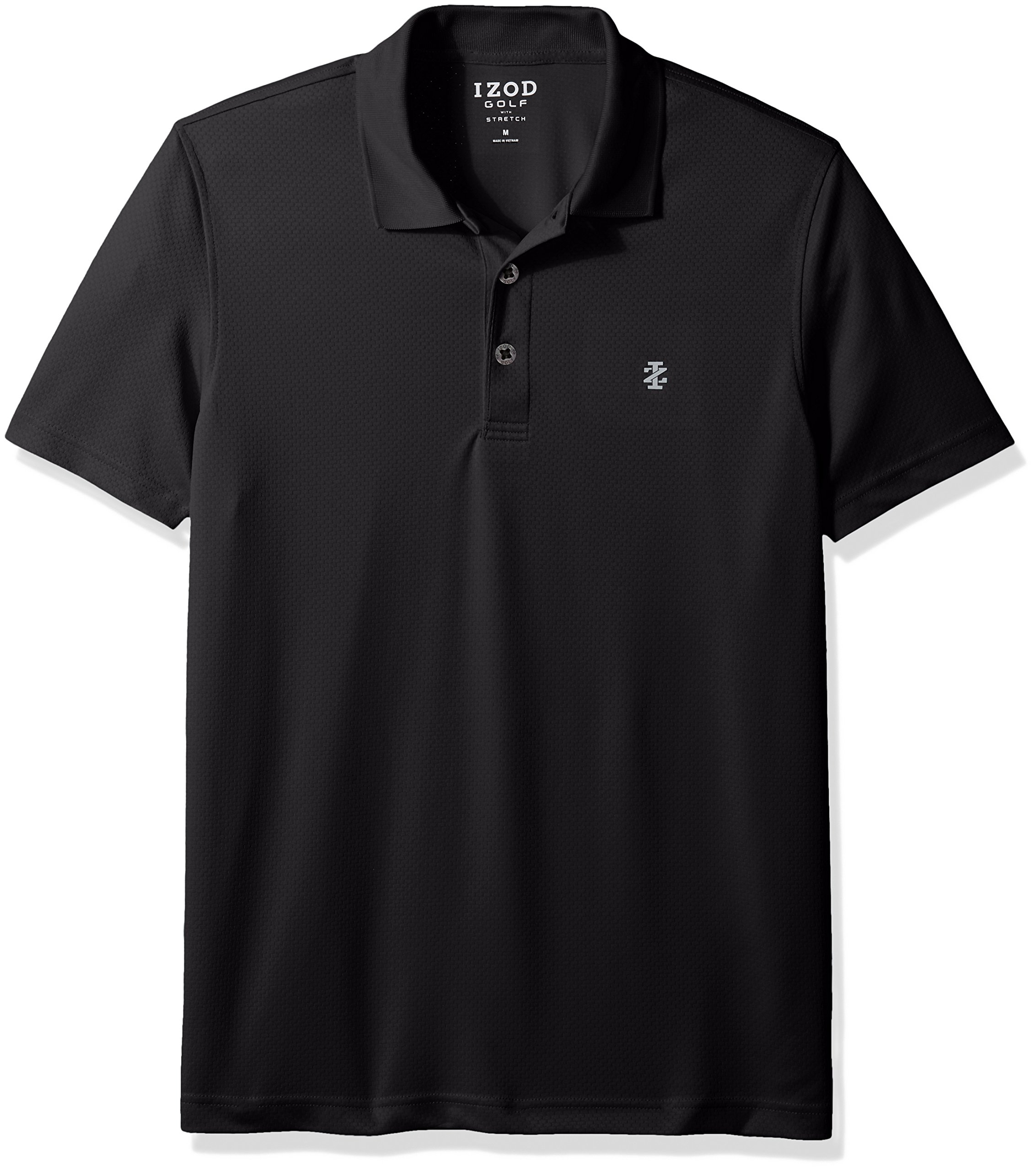 IZOD Men's Golf Title Holder Short Sleeve Polo, Black, M
