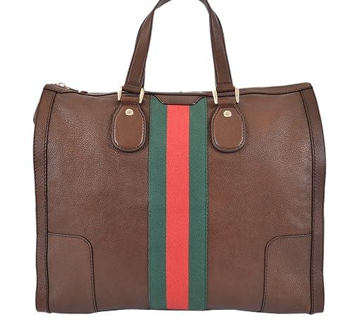 4cd600350e9a5 Gucci Women s 271624 Seventies Brown Leather Web Stripe Large Purse Tote   Amazon.ca  Shoes   Handbags